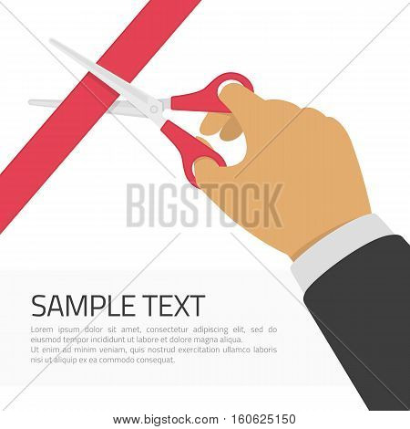 Grand opening concept. Hands cutting red ribbon with scissors and place for sample text. Opening ceremony or celebration and event. Vector illustration in modern flat style.