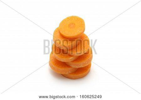 Isolated carrot sliced on white background with clipping path