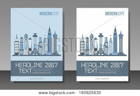 Modern city buildings vector template of magazine cover size A4. Two variants of an architectural background design.