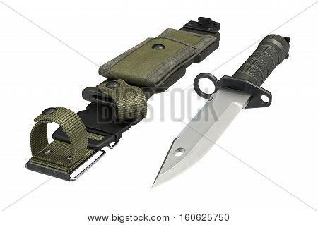 Knife army green sheath metallic hunting tool. 3D rendering