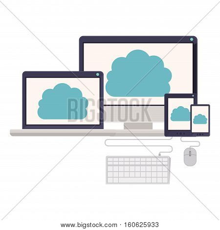 Computer laptop tablet smartphone and cloud computing icon. Storage media multimedia and technology theme. Isolated design. Vector illustration