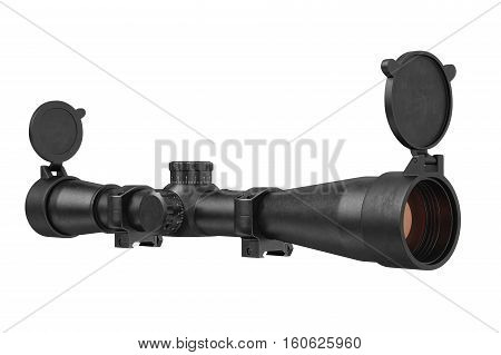 Scope optical sniper rifle black equipment, lens. 3D rendering