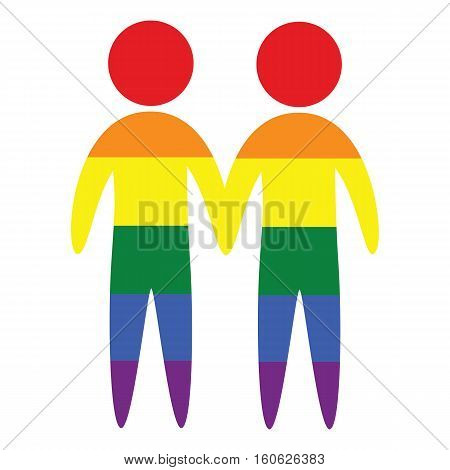 Gay couple vector icon in colors of LGBT rainbow flag gay marriage