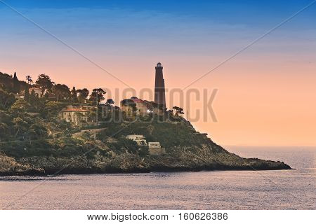 Cap Ferrat Lighthouse sits on the tip of VilleFranche-Sur-Mer on the Mediterranean in France.