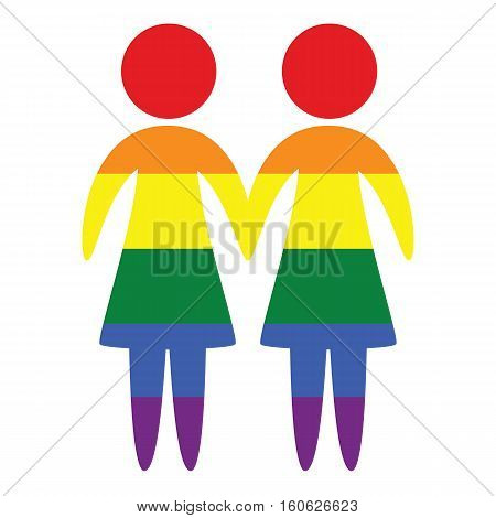Lesbian couple vector icon in colors of LGBT rainbow flag lessbian marriage