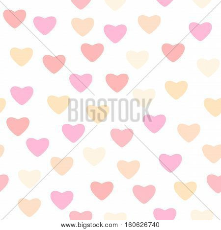 Vector illustration of seamless pattern with different pink color hearts for valentine, wedding template in retro style