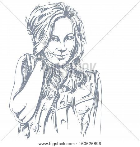Vector Art Drawing, Portrait Of Gorgeous Flirting Girl Isolated On White. Facial Expressions, People