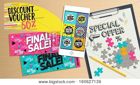 Finale sale, shop now, super sale, huge sale, weekend sale, special offer only today. Online shopping concept desktop. Phone on table, banners, coupons and calculations.