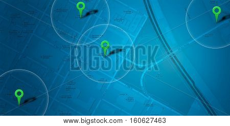 Blue map with location and POI background (illustration)