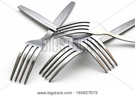 several of fork isolated on white background