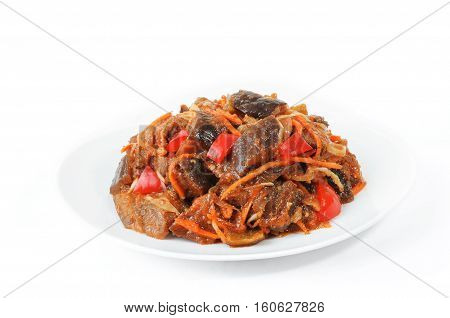 salad with aubergine and red pepper isolated on white