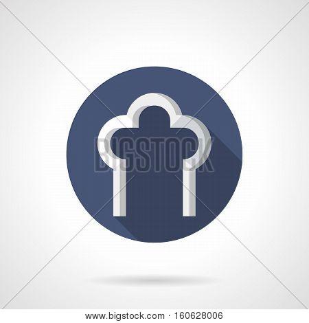 White columns with element of trefoil arch. Architectural details. Building decoration concept. Round blue flat design vector icon.