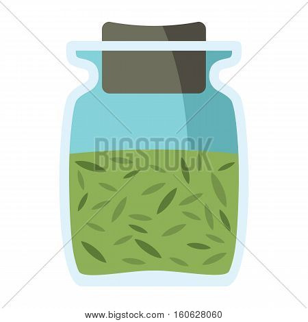 Jars With Spices In Cartoon Flat Style