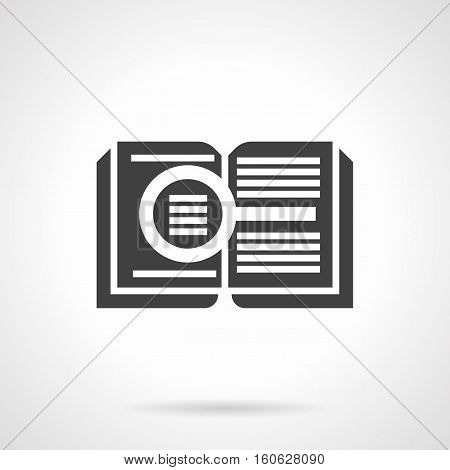 Abstract silhouette of open book and magnifier. Search of required information, literature genres, web-library button. Reading concept. Symbolic black glyph design vector icon.