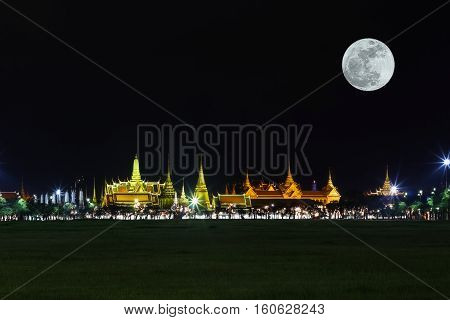 Wat Pra Kaew Public Temple Grand Palace With Super Moon At Night, Bangkok Thailand