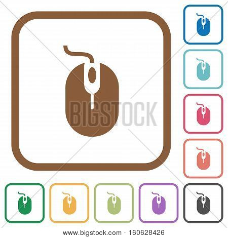 Computer mouse simple icons in color rounded square frames on white background