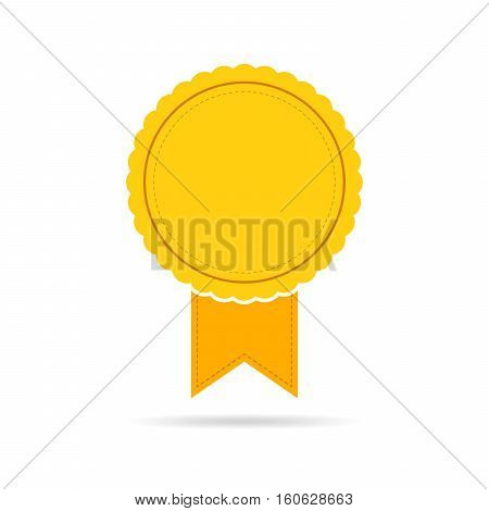 Simple medal icon with ribbon. Yellow medal with shadow in flat design. Silhouette of trophy awards or medal. Vector illustration.