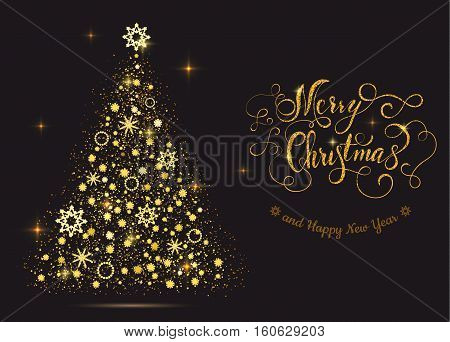 Shiny gold new year tree with lettering Merry Christmas