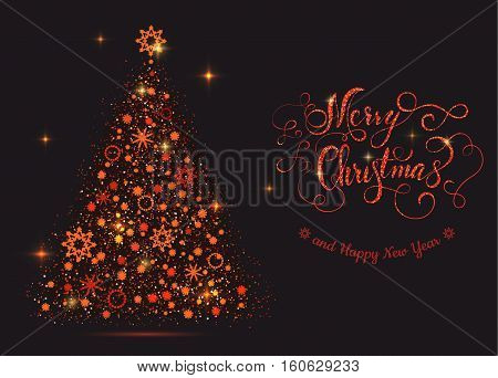 Shiny red new year tree with lettering Merry Christmas