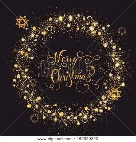 Shiny gold new year frame with lettering Merry Christmas