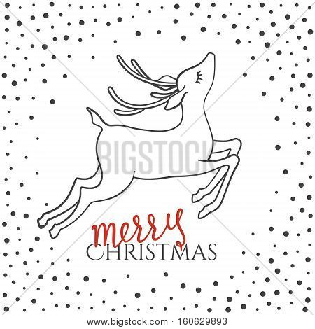 Merry Christmas text. Greeting card with calligraphy. Christmas deer and snowfall. Hand drawn. Doodles.