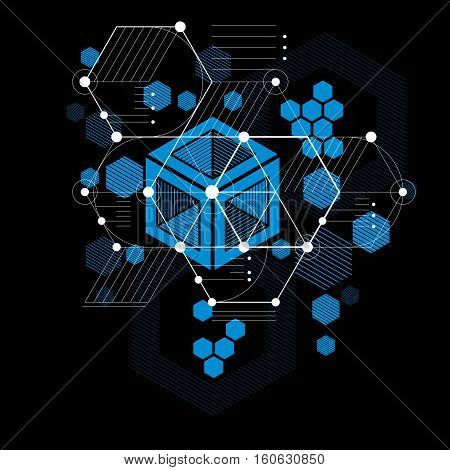 Bauhaus retro art vector blue background made using grid circles and rhombuses. Geometric graphic 1960s illustration can be used as booklet cover design. Technological pattern.