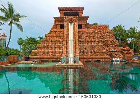 NASSAU & PARADISE ISLAND, BAHAMAS - September 11, 2015: Water Slide, Aquaventure Water Park at Atlantis Paradise Island, Nassau.