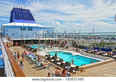 BAHAMAS - September 15, 2015: Norwegian Cruise Line pool deck.
