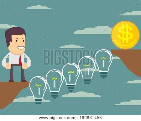 Man on the Lightbulbs Bridge want cross an abyss. Vector illustration .