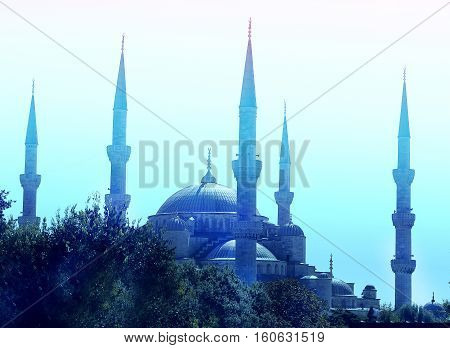 Photo miracle beautiful blue mosque in Istanbul