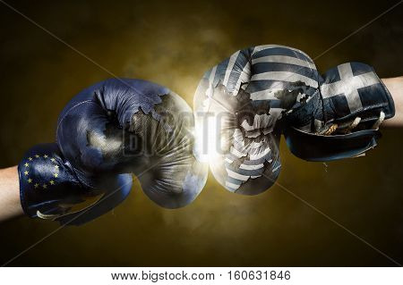 Political Crisis between Greece and EU symbolized with Boxing Gloves