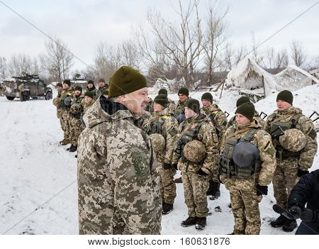 President Of Ukraine Poroshenko Inspected Stronghold On Frontline Near Horlivka