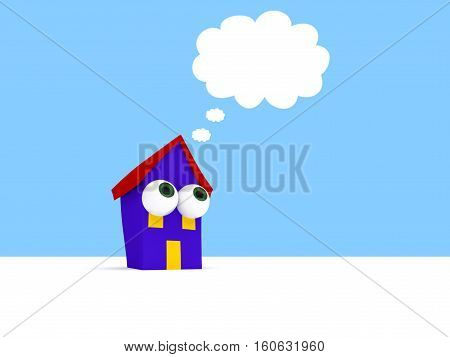 Cartoon House With Big Eyes And A Cloudy Thought Bubble 3d illustration