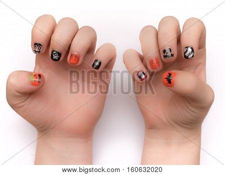 Fingernails Painted Artistically For Hwlloween