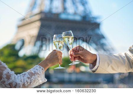 Just Married Couple Drinking Champagne