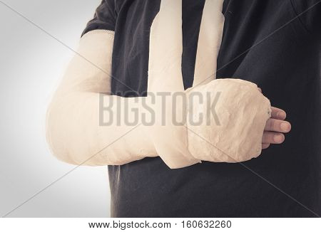 Broken Arm In White Plaster Cast And Sling