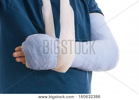 Broken Arm In Blue Plaster Cast And Sling