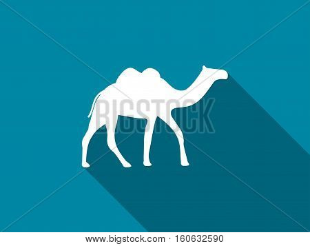 Camel With A Long Shadow. Camel With Two Humps Icon. Vector Illustration