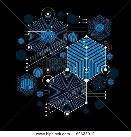 Bauhaus art decorative modular vector blue backdrop made using hexagons and circles. Retro style pattern graphic backdrop for use as booklet cover template. Illustration of engineering system.