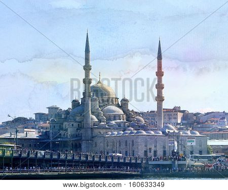 Photo miracle beautiful large mosque in Istanbul