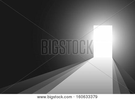 Open door with light on black background. Light through the open door. Vector illustration.