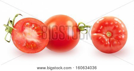 Photos bright tomato isolated on white background