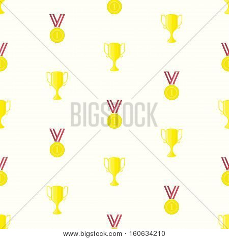 Gold medal and winner cup, seamless pattern in flat design style. Champion cups, golden medals and trophies template.