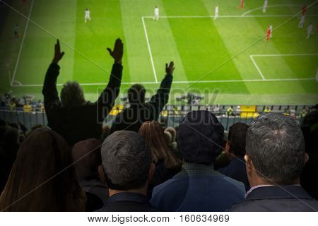 crowd of soccer fans looking the match. Some of them have complains with the referee. Blurred background. 3d render. 3d illustration