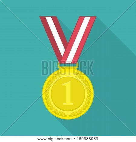Golden medal icon for the winner in flat style with long shadow. 1st Position First prize vector illustration.