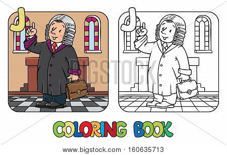 Coloring picture or coloring book of funny judge. A man in barrister wig, dressed in mantle, with briefcase understand thumbs up. Profession ABC series. Childrens vector illustration. Alphabet J