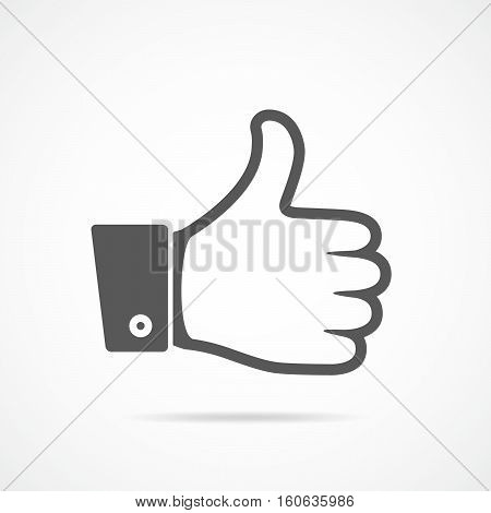 Thumb up gray icon isolated. Vector illustration. Thumb up in flat design.