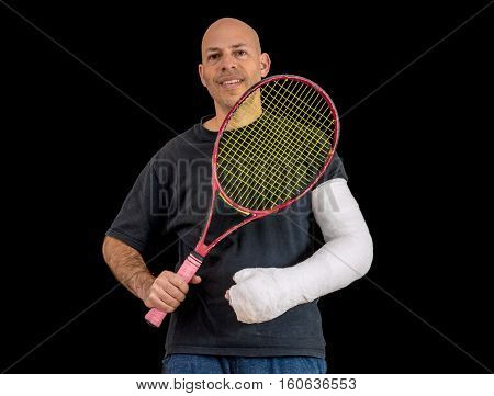Young Man In An Arm Cast After A Tennis Accident