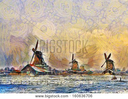 Three Windmills In A Field. Illustration