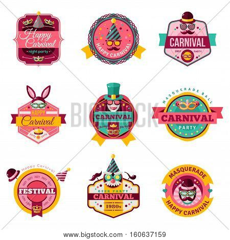 Set Of Vintage Carnival Badges and Labels. Ribbons, Flat Icons and Other Elements. Vector illustration. Rabbit Ears, Detective Hat and Pipe, Masks, Smiling Lips, Princess Crown.